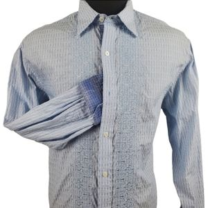 Johnston & Murphy Embroidered Blue Shirt Size L